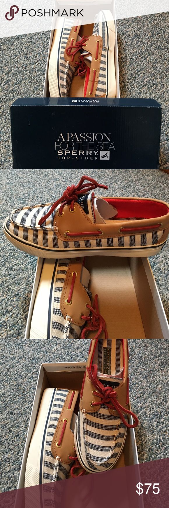 Sperry Women's Top-Sider Adorable Brand New in Box Sperry Bahama Navy Breton/Cognac Boat Shoe. These are perfect for the Summer and can be worn with anything. Very comfortable and Nautical looking⚓️ Sperry Top-Sider Shoes
