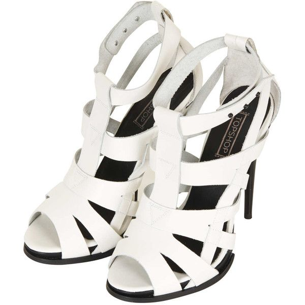 TOPSHOP RAFFERTY High Gladiator Sandal ($124) ❤ liked on Polyvore featuring shoes, sandals, heels, white, strappy heeled sandals, white sandals, strappy sandals, high-heel gladiator sandals and strappy high heel sandals