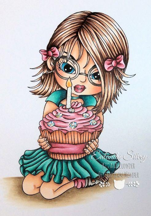 Cards and More Cards: Cupcake Honey Copics: W1, 3, 5, 7 Hair - E21, 25, 29 Dress - BG11, 13, 49, C7 Cupcake - RV000, 81, 83, 85, 89 Wrapper - E02, 93, 95, 97, 99 Skin - E000, 00, 11, 21, 04 and R20 Ground - E41, 42, 43, 44