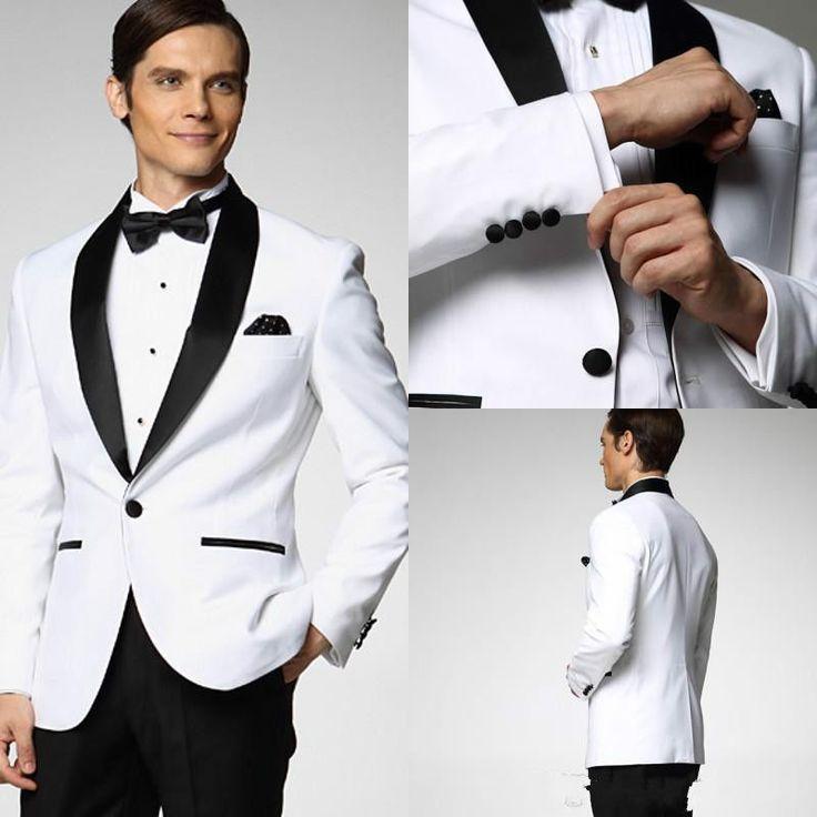 White Jacket Black Satin Lapel Groom Tuxedos Groomsmen Man Suit Wedding Suits | eBay