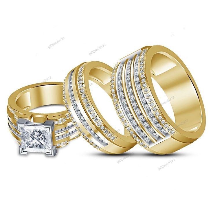14K Yellow Gold Over Princess & Round Cut Diamond Men's & Women's  Trio Ring Set #giftjewelry22
