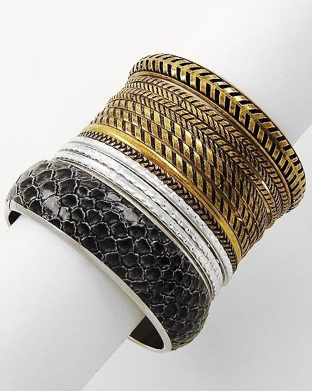 Two-Tone Black Leatherette Python Print Design Bracelet