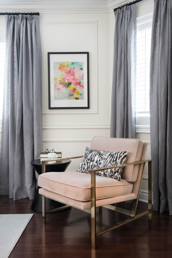 Blush Velvet And Brass Chair With Schumacher Feline Obscura Watercolor  Leopard Print Black And White Pillow