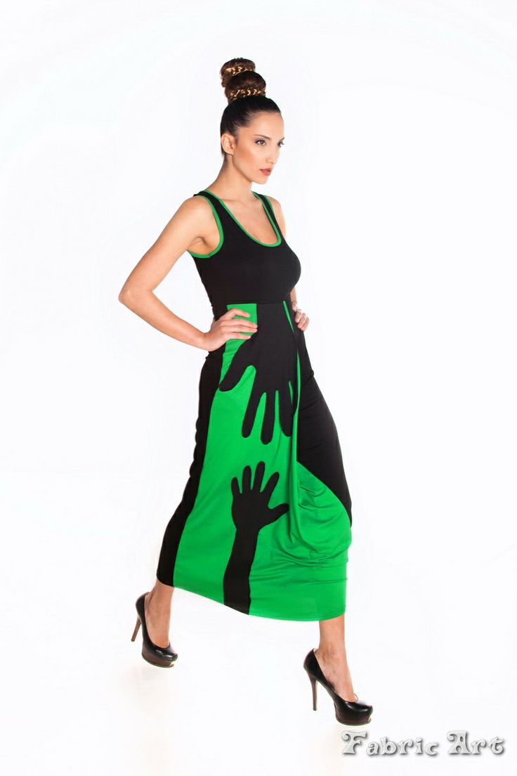 "Sleeveless midi contrast dress with handmade applique ""Helping Hand """