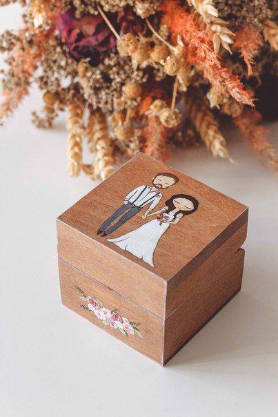 Свадебная шкатулка для колец Авторский Киоск с вашим изображением (эскиз по вашей фотографии)