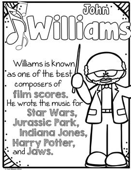 Easy way to get young students learning about famous composers! American Composers Coloring & Fact Sheet (Set 2) #Kodaly #Orff #Elmused #musedchat #musictpt #RhythmandBloom