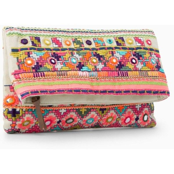 MANGO Ethnic Embroidery Clutch (76 BRL) ❤ liked on Polyvore featuring bags, handbags, clutches, embroidery handbags, flap handbags, snap purse, embroidered purse and embellished purse
