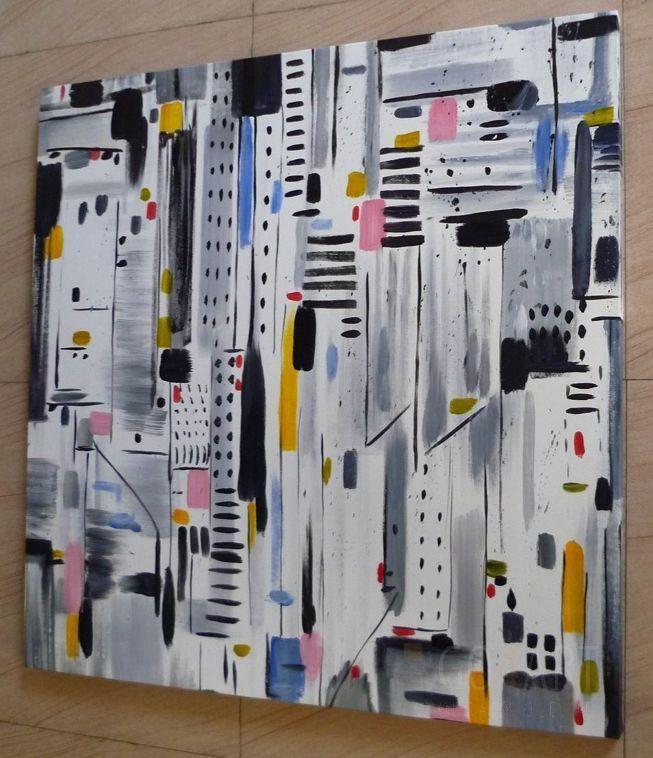 """Metropolia"" - obraz olejny - 100x100 cm 540zl"