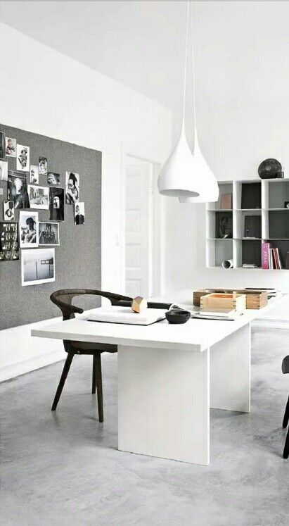 Home office // simple white design, decluttered home workspace // neat, crisp and organized