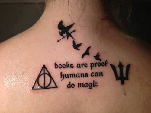 I think, with the exception of my Gentleman Bruce tattoo, my right arm will be solely dedicated to my favorite books.  --- Books are proof humans can do magic (Harry Potter, The Hunger Games, Divergent, Percy Jackson) - CR