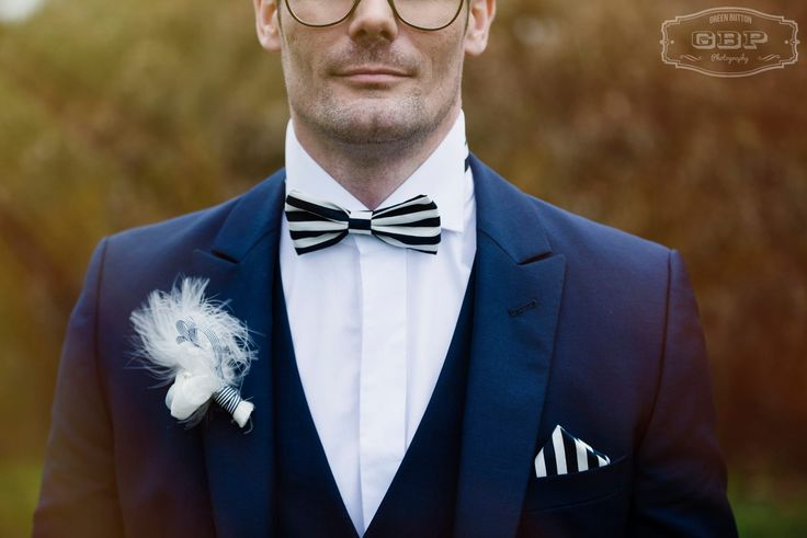 Lilly Dilly's handcrafted bespoke alternative button holes Photography provided by Green Button Photography #wedding #Green Button Photography #Lilly Dilly's  #buttonhole #boutonniere #groom #bridal party #bespoke #handcrafted #couture #stripes #feather #fabric flower #navy blue