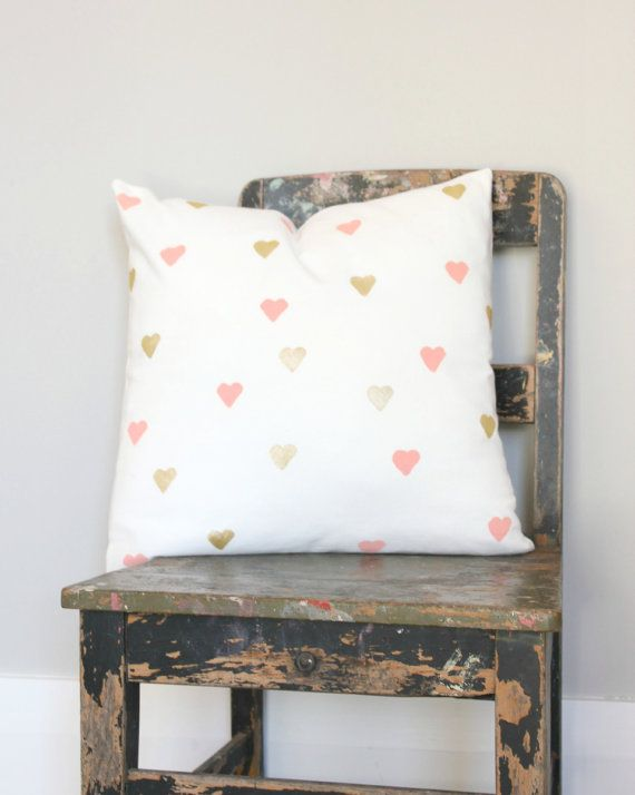 Pillow Cover With Mini Hearts In Peach Metallic Gold Gorgeous S Bedroom Décor Or Perfect For That Nursery