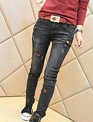 Dambyxor  ( Bomull/Denim ) Jeans  -  Mellan  -  Mikro-elastiskt