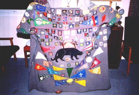 This might have been my favorite campfire blanket from the summer I spent on International camp staff at Kingsdown Scout Camp in 2000.  I can't remember this gentleman's name but he was the campfire leader - just a real classic British Scouter who know all the classic songs.  His blanket really inspired me to create my own British style blanket.