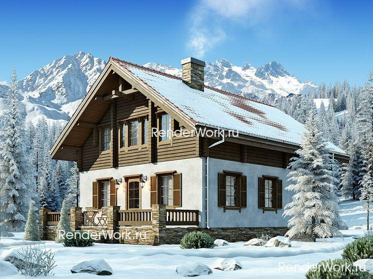 Комбинированный дом в стиле шале, второй этаж из бруса