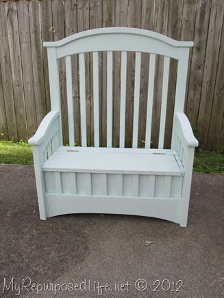 RePurpose: Crib to a ToyBox/Storage Bench. The Back was the end. The arms were the other end. The front was the side panel. The seat and box are new wood.