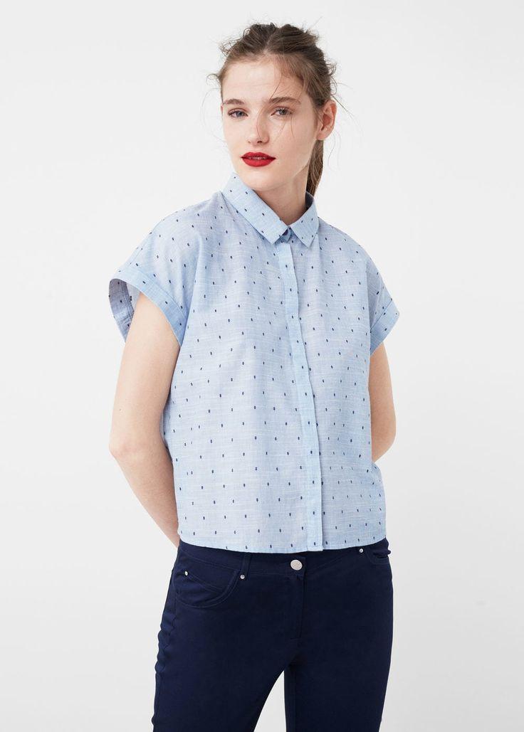 Camisa textura algodón - Camisas de Mujer   MANGO España