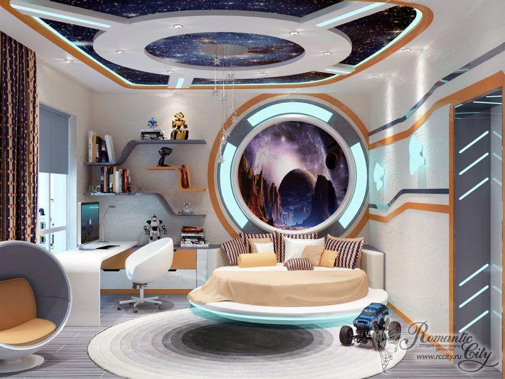 Интерьер детской в космическом стиле. Фото 14