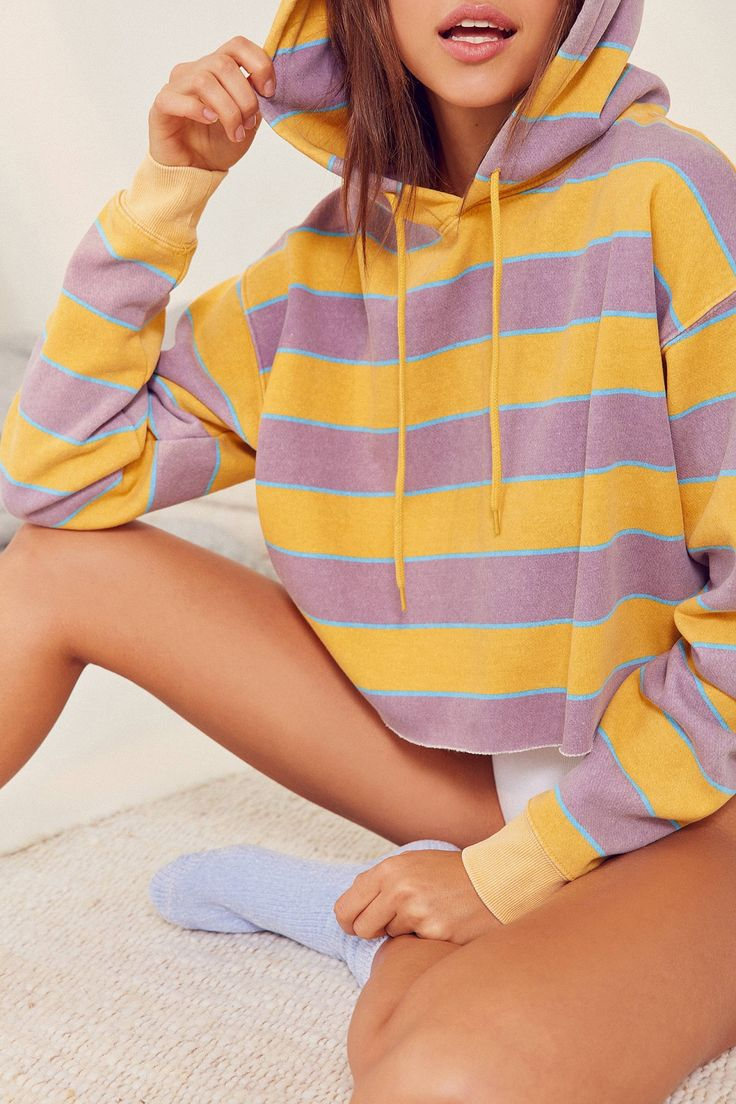 Slide View: 1: Out From Under Striped Cropped Hoodie Sweatshirt