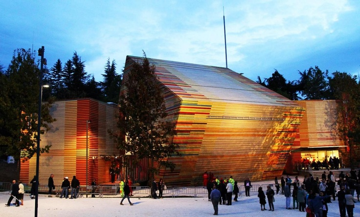 Renzo Piano - Auditorium Music Park in Rome. (wood and colour)