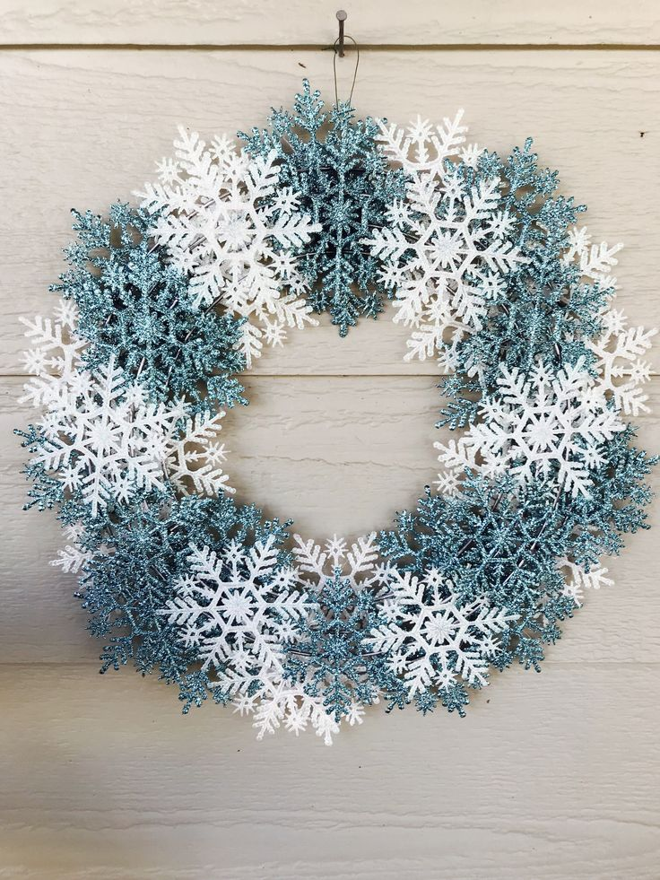 Excited to share the latest addition to my #etsy shop: Winter Snowflake Wreath, White Blue Wreath, Winter Wreath, Snowflakes, Home Decor, Glitter, Snowflake Wreath, Sparkle, Let it Snow