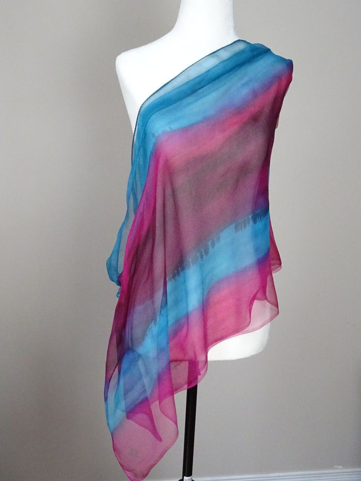 "Hand Painted Silk Scarf, chiffon  turquoise, purple and pink. ""Beets"". handpainted. Approx  20 X 76 inches by SeesaSilk on Etsy"