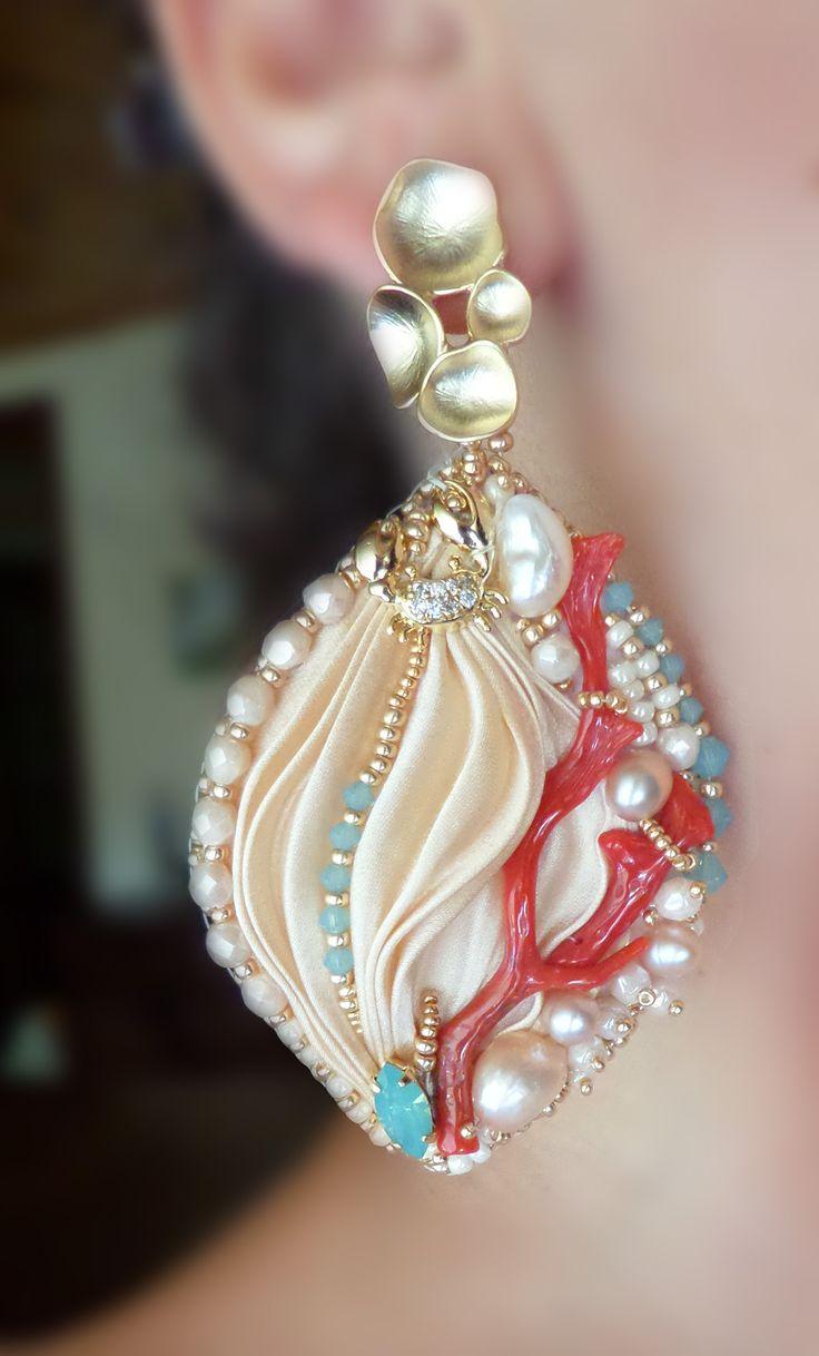 """EARRINGS, bead embroidery, shibori silk, coral. Designed by """"Serena Di Mercione Jewelry"""""""