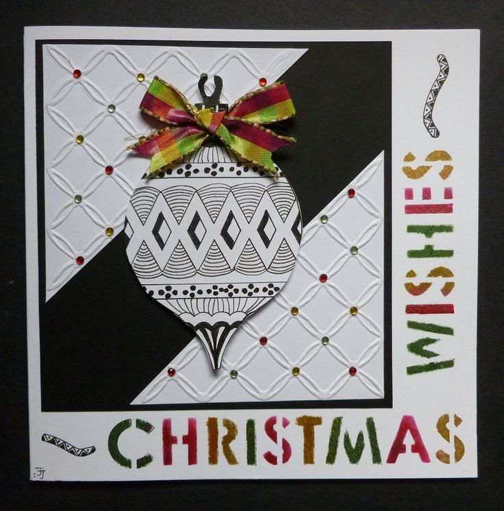 'Christmas Wishes Bauble' card. -  Imagination Craft's - Red, Green & Rich gold Starlight paints.  Magi-bond glue.  Round Christmas Wishes stencil.  Black fine liner pen.  Tattered Lace embossing folder.  June 2017.  Designed by Jennifer Johnston.