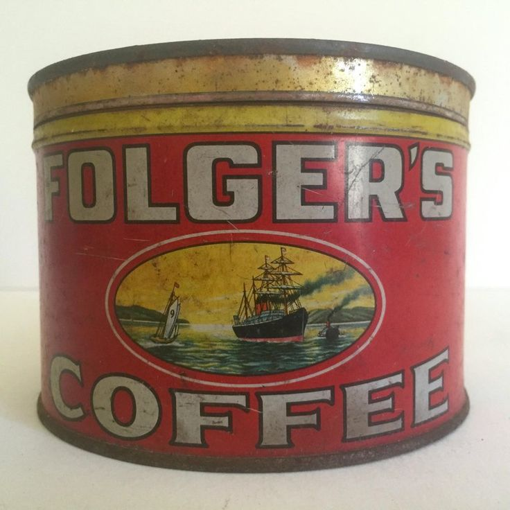 This vintage early 1900's Folger's Coffee round metal tin