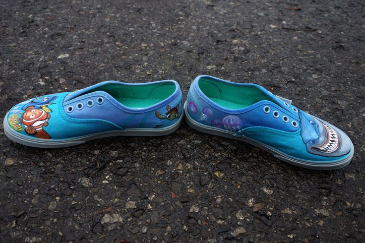Pixar Finding Nemo Custom HandPainted VANS for Gavin  Size 11.0 Youth Lace-up Vans for Boys For a little boy with an obsession for sharks, marine