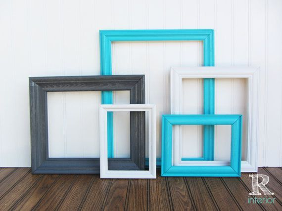 Turquoise Painted Frames Upcycled Vintage Gallery Wall Frame Set Coastal Beach Cottage Teal Gray White - Nursery Decor