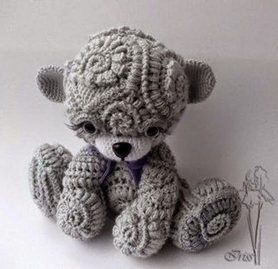 Irina: Cute freeform crochet Teddy. Lesson.
