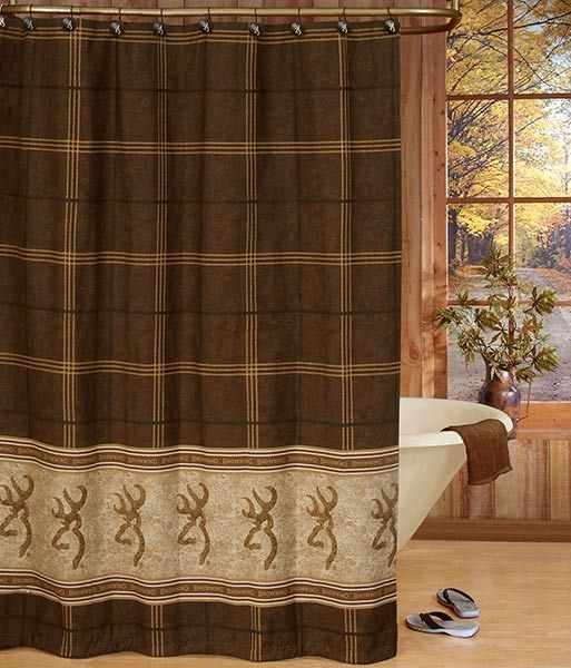 Browning Buckmark Shower Curtain Features Brown Gold Plaid Bordered By The Iconic Logo Stripes On Tan W Faux Leather Texture