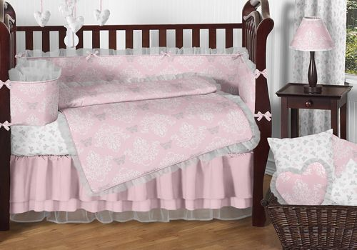 Boutique Pink and Grey Alexa Fancy Lacy Luxury Baby Bedding Nursery Collection  http://www.babysownroom.com/grey-pink-butterflies-damask-baby-bedding-set-jojo-designs/