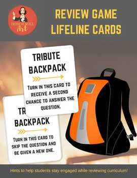 "Lifeline cards be used with any type of review game (team vs. team, individual contestants, spelling bee, etc).  Created to be used ""Hunger Games-style""; each card offers ""provisions"" to help students ""survive"" the game."