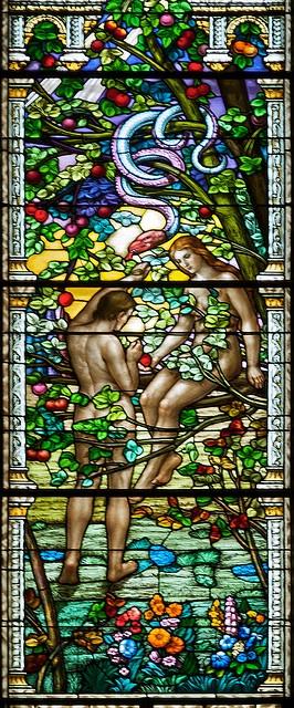 Original Sin  Guido Nincheri,  Saint-Léon de Wesmount - Adam and Eve in the Garden of Eden