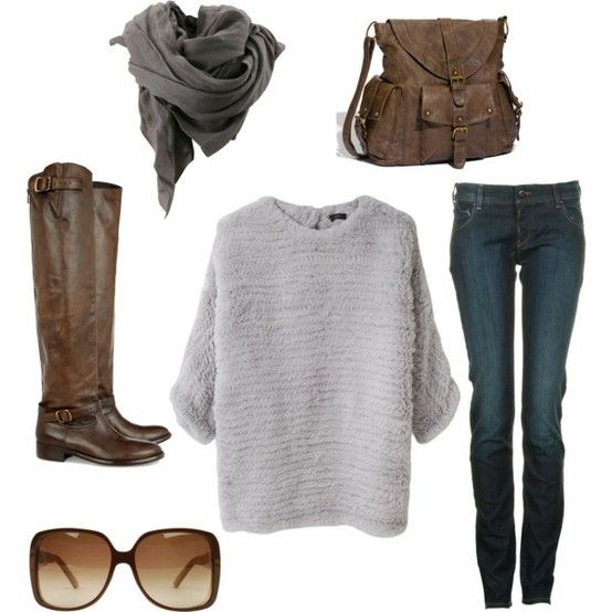 I like this combination: Fall Wint, Over Sweaters, Jeans, Fall Outfits, Winter Outfits, Scarves, Fall Fashion, Brown Boots, Sweaters Scarfs