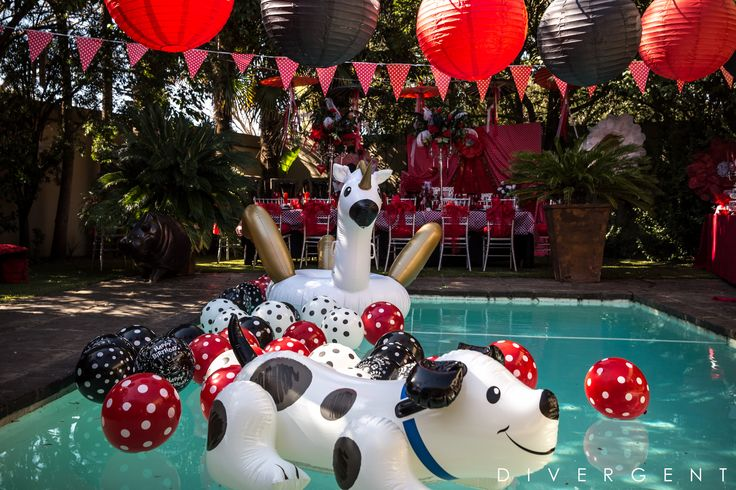 Red, Black and White themed garden birthday party fun pool decor