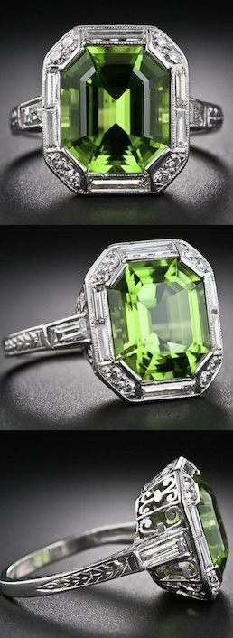 Art Deco Peridot, Platinum and Diamond Ring,  A stunning and sophisticated Art…