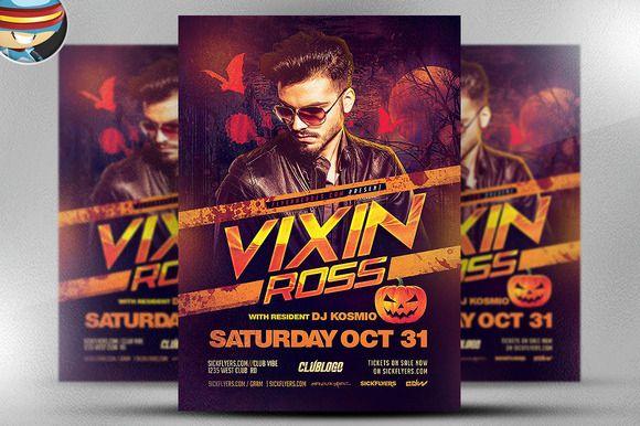 Vixin Halloween Club Flyer Template by FlyerHeroes on @creativemarket