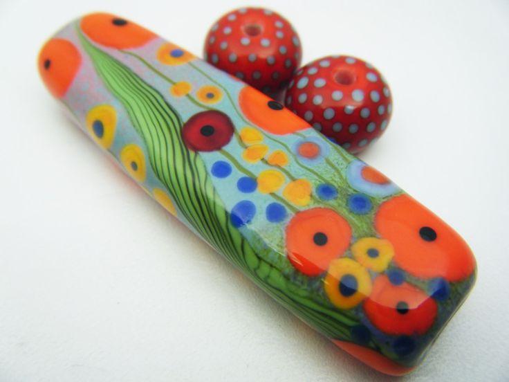 moogin beads poppy field enamelled lampwork glass bead set sra