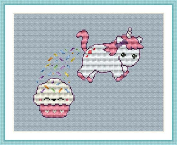 Funny Cross Stitch PDF Pattern Unicorn Pooping Cupcakes