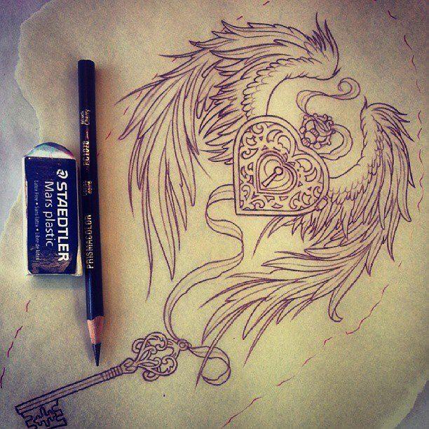 heart locket tattoos | ... heart locket and wings tattoo design. Adam @ Rose Gold's Tattoo, San
