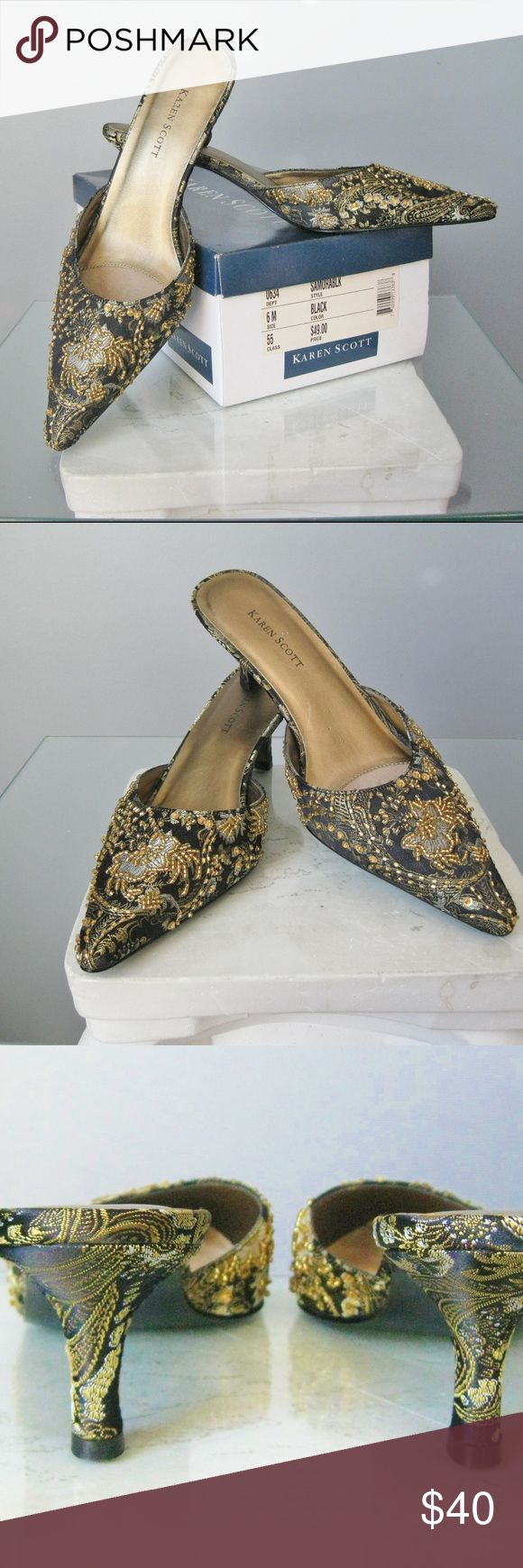 """Karen Scott Samora Black & Gold Brocade Mules NEW Elegant floral beaded Leather brocade mules new in box black and gold with gold beading. Heel: 2.5"""" Thanks for looking! #22496 Karen Scott Shoes Mules & Clogs"""