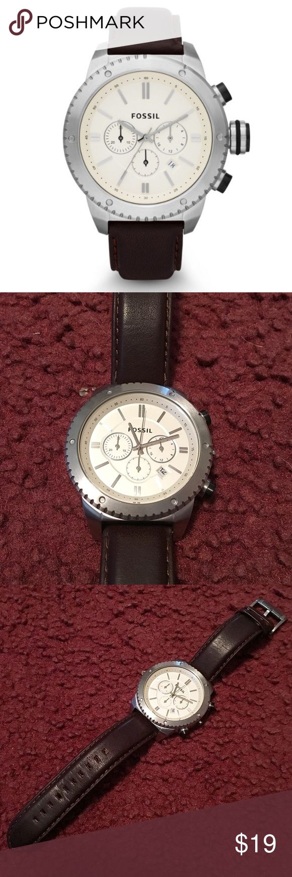 Men's Leather Fossil Watch Men's genuine brown leather Fossil watch with chronograph feature and cream colored face. Silver hardware. Watch has only been warn a few times and is in good condition. Needs new stem - the stem fell off. This can be repaired for free through Fossil! They only charge for shipping! Authentic. No trades! Fossil Accessories Watches