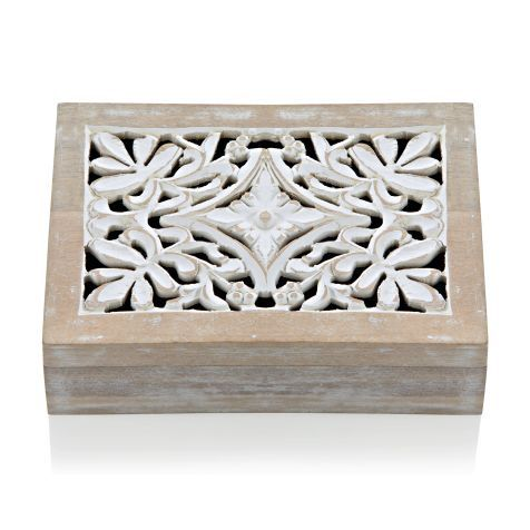 Holzbox, Handarbeit, Ornamente, Shabby Chic, Holz Vorderansicht