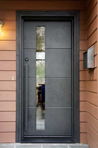 Contemporary Door M100A with M10 pull handles.  Steel Grey finish. Portella