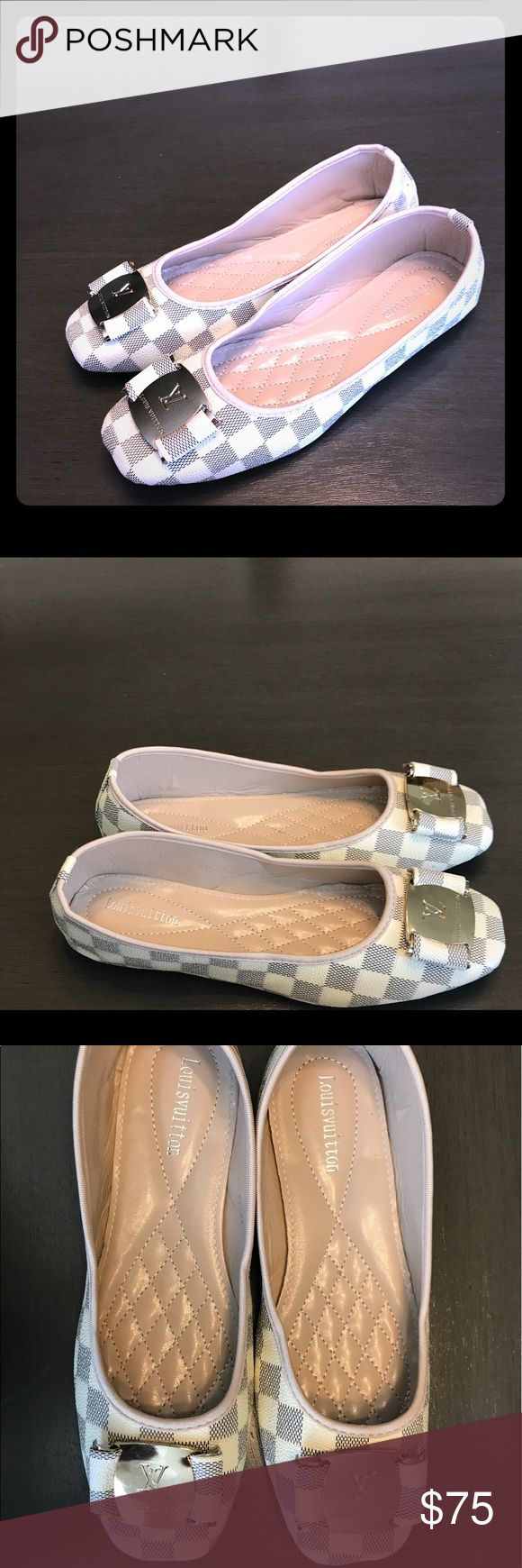 Louis Vuitton checkered flats Louis Vuitton checkered flats perfect for summer events! Fits a women's size 9. Louis Vuitton Shoes Flats & Loafers