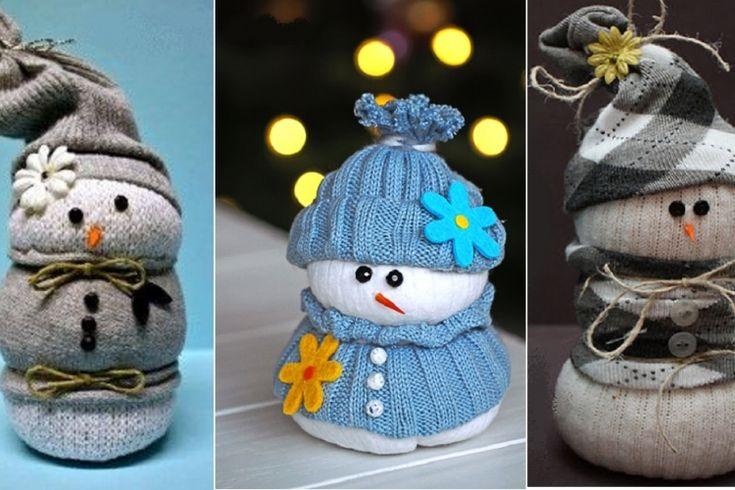 bonhomme de neige avec des chaussettes : Dans ce tutoriel nous allons vous expliquer comment créer un joli bonhomme de neige que vous vous pouvez utiliser pour décorer l'arbre de noël ou le mettre sur le cheminées pour faire plaisir aux enfants.