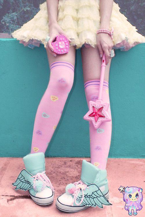 cool hawajuku kawaii shoes pink pastel  Harajuku / Tokyo / Japan / Japanese Girls Kaw...